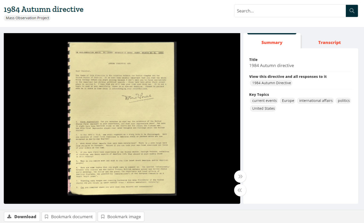 Screenshot illustrating how directives can be viewed in the document image viewer.