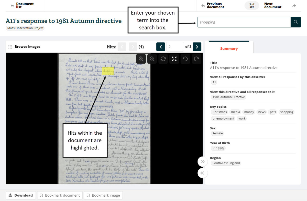 Screenshot illustrating highlighted hits in a manuscript document after an in-document HTR search.