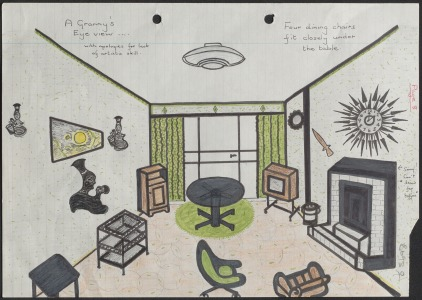 Drawing of a living room from B693's response to 1983 Autumn Directive