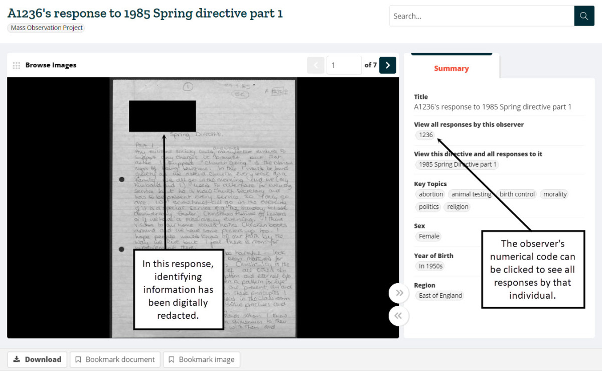 Screenshot of the document image viewer, with the observer's numerical code visible in the metadata. This can be clicked to see all responses by that individual.