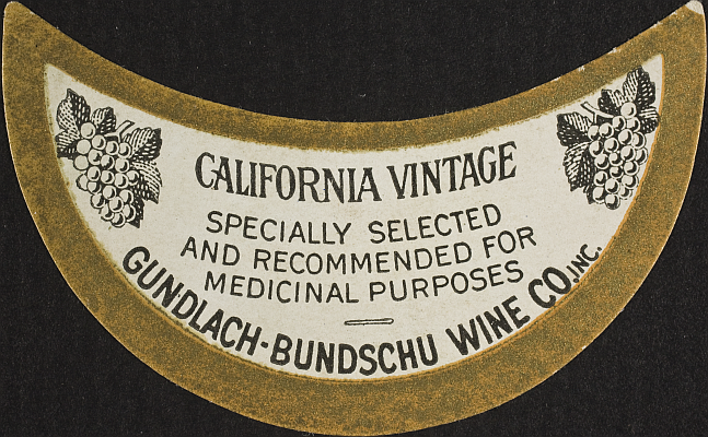 California Vintage wine label, Gundlach-Bundschu