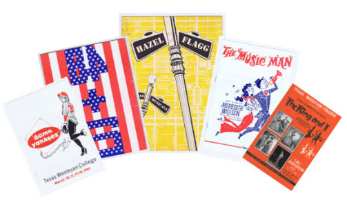 Playbills included in the Mason Johnson Theatre Collection, in a fan display.